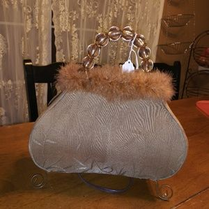Accessories - Vintage 1990s brown with feathers and Beads purse
